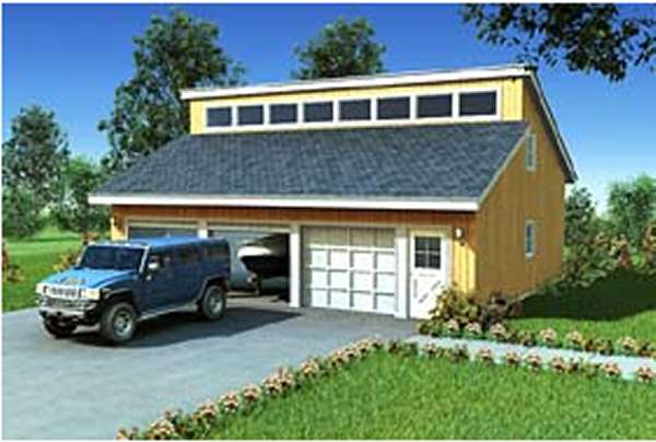 Eave 2 3 car clerestory roof garages house plan hunters for Clerestory house designs
