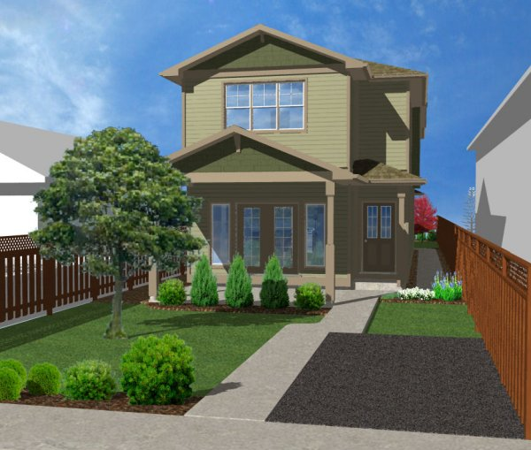 Narrow lot duplex house plan hunters for Narrow duplex plans