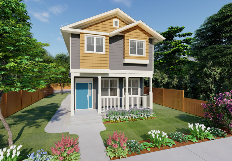 Micro duplex house plan hunters Narrow lot duplex