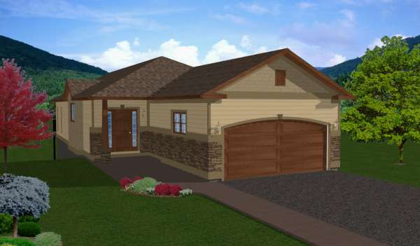 Narrow lot hillside rancher house plan hunters for House plans for hillside lots