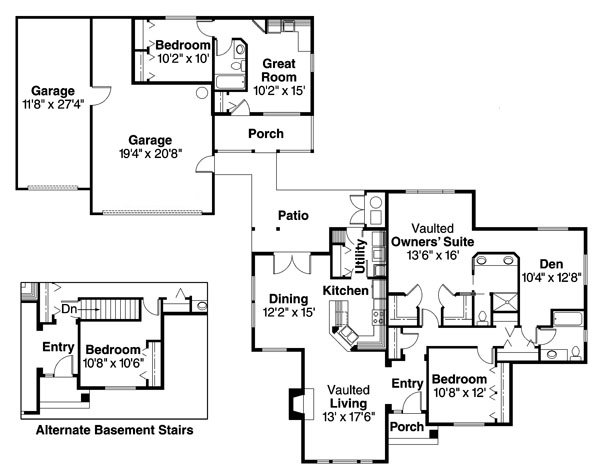 Detached guest cottage or in law suite house plan hunters for Bungalow house plans with inlaw suite