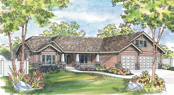 river rock porch house plan hunters