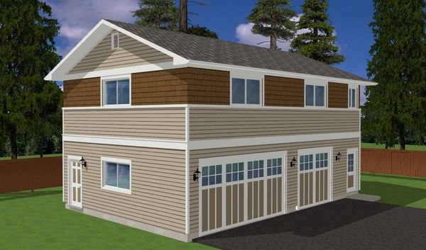 Three car garage plan with studio loft house plan hunters for 3 car garage with loft