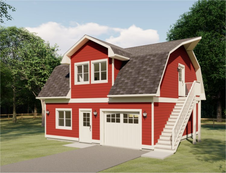 Barn style garage house plan hunters for Barn style garage plans for free