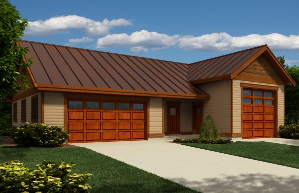 Double garage with workshop and rv garage house plan hunters for Rv garage plans with workshop