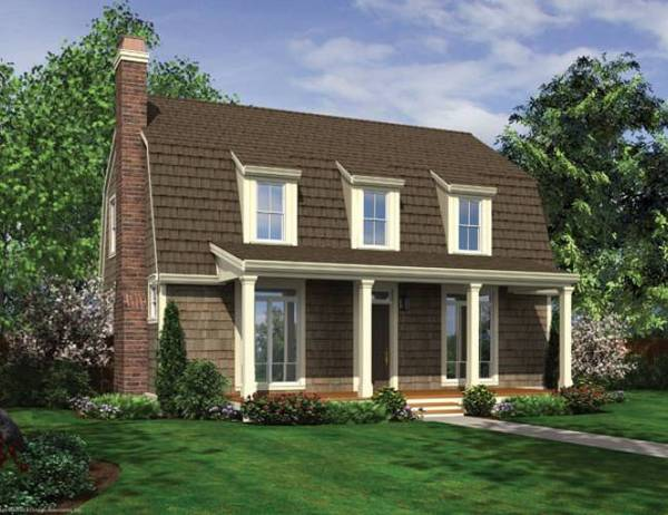 Gambrel roof with dormers and front porch house plan hunters - House plans dormers ...